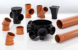 Underground drainage pipes, fittings and chambers in stock
