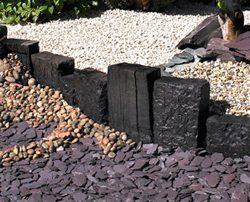 Decorative aggregates, slates cobbles, pebbles and Railway sleepers in stock