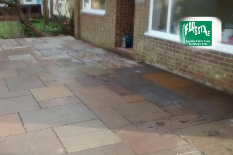 Autumn Blend natural sandstone pointed with Geofix allweather jointing compound in slate grey colour