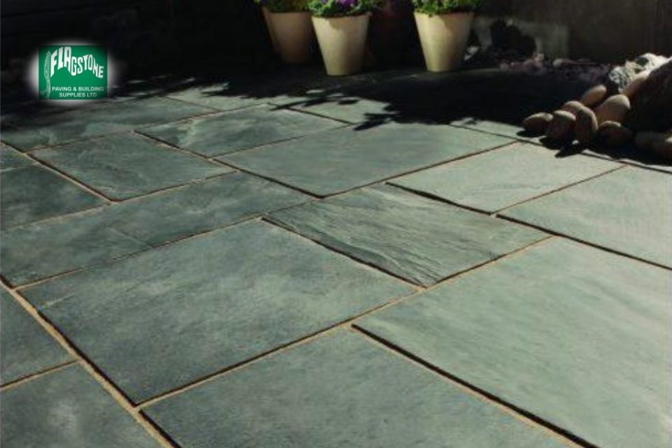 Blue-black slate pointed with Geofix allweather jointing compound in natural stone colour