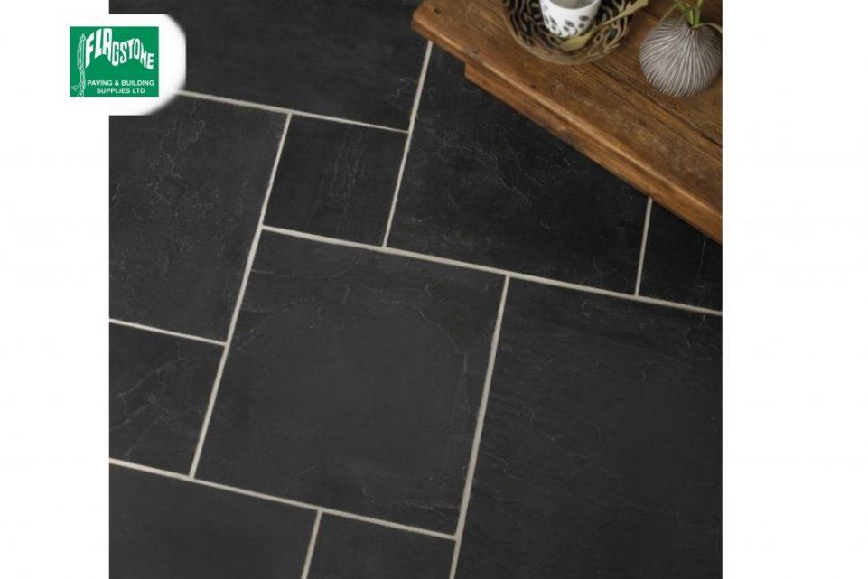 Blue-black slate tiles mixed