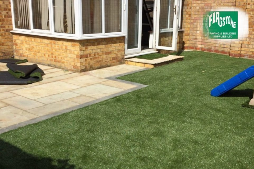 Fossil buff natural sandstone pointed with Geofix allweather jointing compound in natural stone colour and newstead astro turf