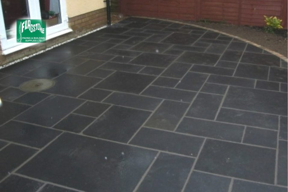 Blue-black limestone sealed with Nexus colour enhancing sealer and pointed with Geofix allweather jointing compound in slate grey colour