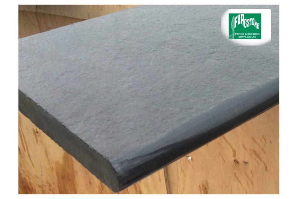 black limestone bullnosed step