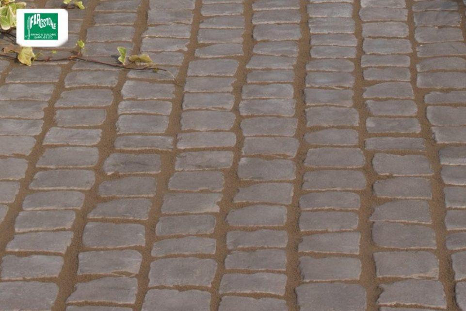 Charcoal cobble carpet stones close up