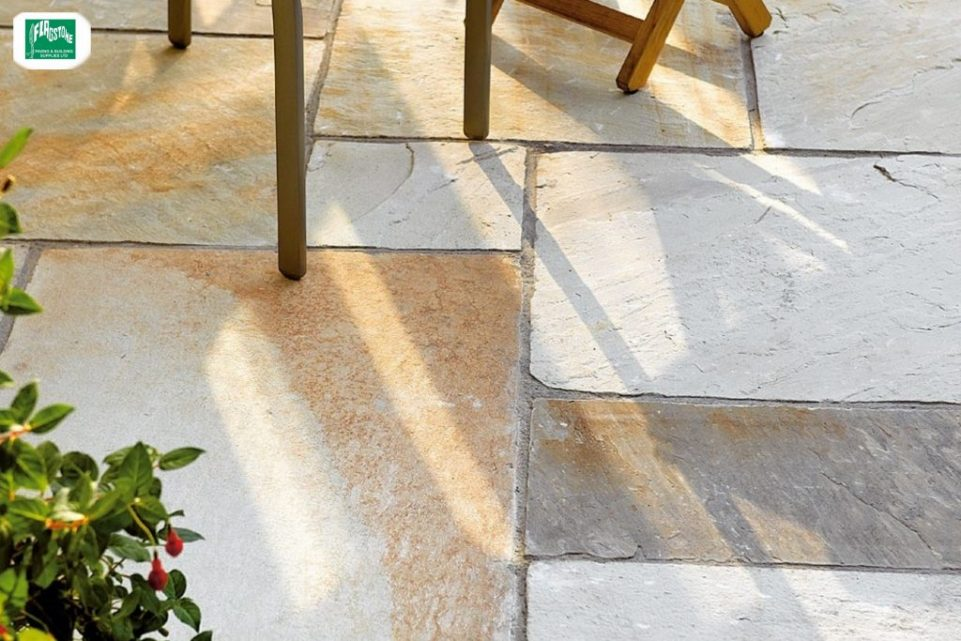Fossil buff natural sandstone pointed with Geofix allweather jointing compound in slate grey colour