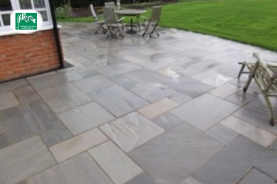 Mountain mist natural sandstone sealed with Nexus colour enhancing sealer and pointed with Geofix allweather jointing compound in slate grey colour