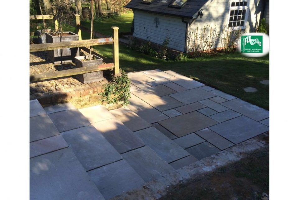 Raj Blend natural sandstone pointed with Geofix allweather jointing compound in slate grey colour