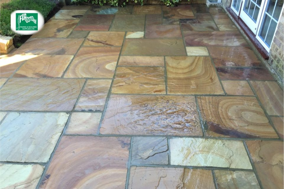 Sahara wavy natural sandstone sealed with Nexus colour enhancing sealer and pointed with Geofix allweather jointing compound in slate grey colour