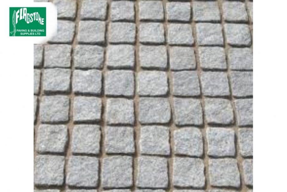 silver grey granite setts 100mm x 100mm x 100mm, pointed with Geofix allweather jointing compound in natural stone colour