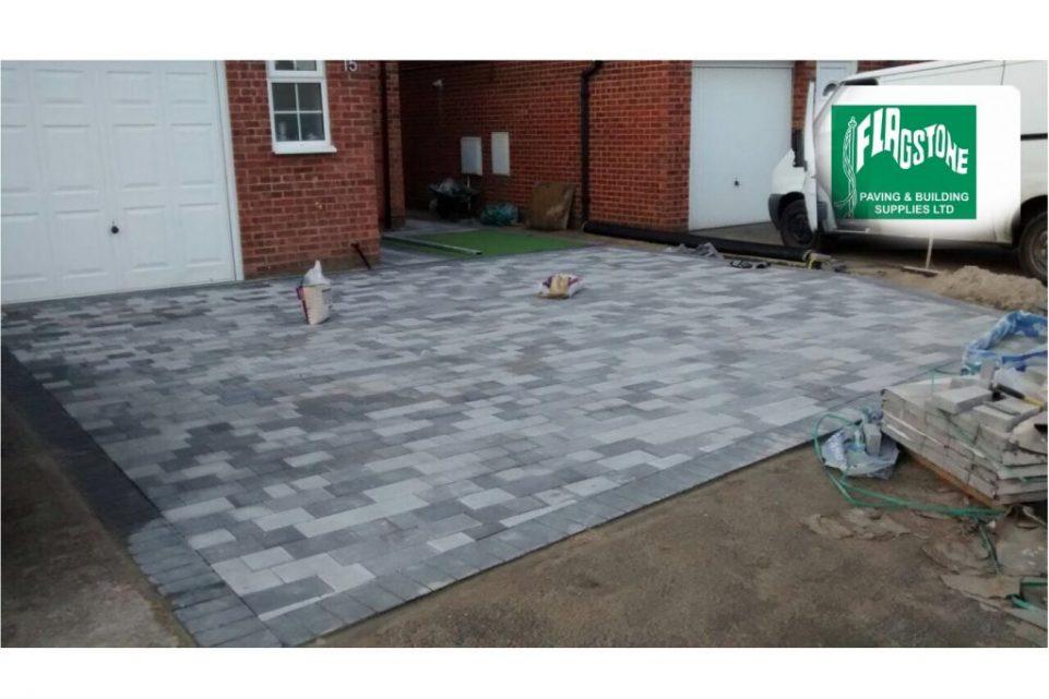Stonemaster block pavers in mixed greys Light grey washed Mid grey washed Dark grey washed