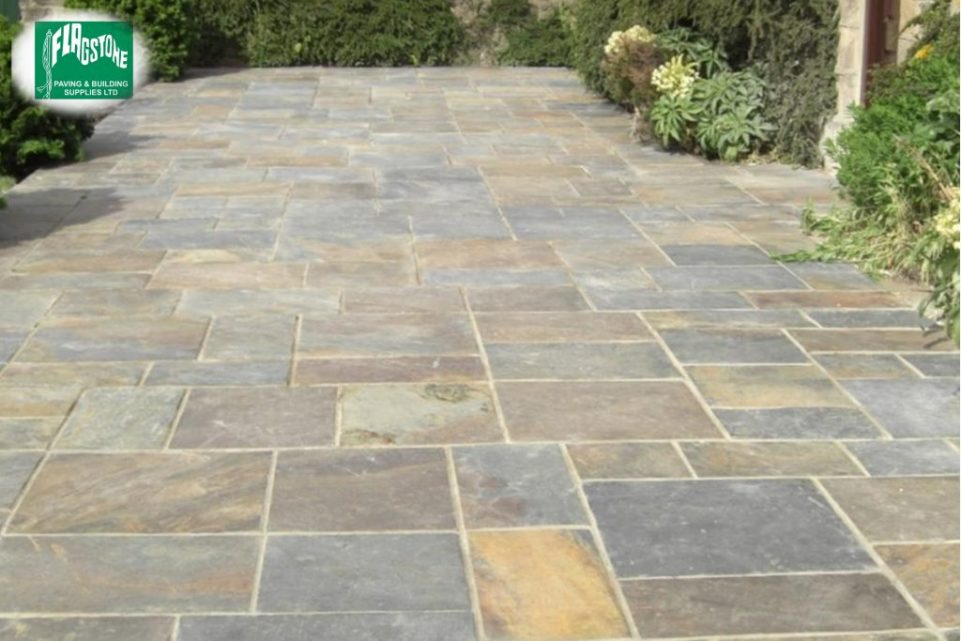 Vijaya gold slate pointed with Geofix allweather jointing compound in natural stone colour